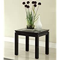 Furniture of America Kappa Contemporary Glass Top End Table, Black