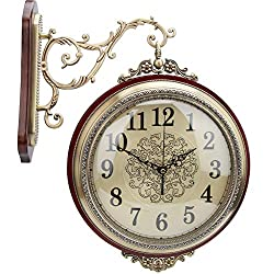 TOPINCN Double-Sided Wall Clock Alloy Plating Copper Solid Wood Retro Silent Round Clock for Bedroom Living Room Lobby Porch 360° Rotates