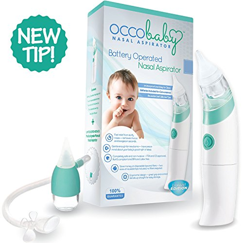 OCCObaby Baby Nasal Aspirator - Safe Hygienic and Quick Battery Operated Nose Cleaner with 3 Sizes of Nose Tips and Oral Snot Sucker for Newborns and Toddlers (Limited Edition) by OCCObaby (Image #3)