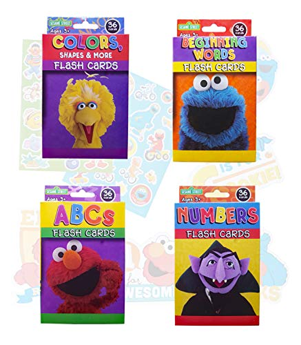 Sesame Street Educational Flash Cards for Early Learning. Set Includes Colors, Shapes & More, ABCs, Numbers and Beginning Words. Plus Free Bonus Die Cut Shape and Stickers.