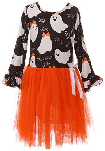 Little Girls' Long Sleeve Ghost Tulle Halloween Holiday Party Girl Dress Black 4 M (P201645P) ()