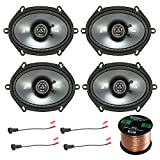 Car Speaker Set Combo Of 4 Kicker 40CS684 6x8'' Inch 450W 2-Way Car Coaxial Stereo Speakers + 4 Metra 72-5600 Speaker Connector for Ford, Lincoln, Mazda, Mercury, + Enrock 50ft 16g Speaker Wire