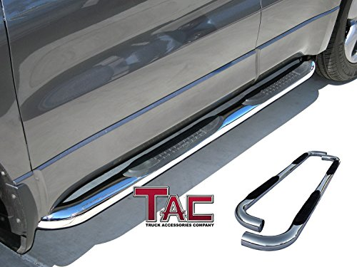 "TAC Custom Fit 2009-2018 RAM 1500 Crew CAB (Incl. 2019 Ram 1500 Classic) / 2010-2019 RAM 2500/3500/4500/5500 Crew CAB 3"" Stainless Steel Side Step Nerf Bars"