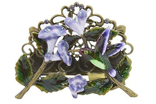 Welforth Hummingbird and Flower Pewter Desk Business - Business Card Holder Flower