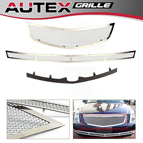 AUTEX Stainless Steel Mesh Grille Combo Insert Compatible with Cadillac DTS 2006-2010 Grill A71072T