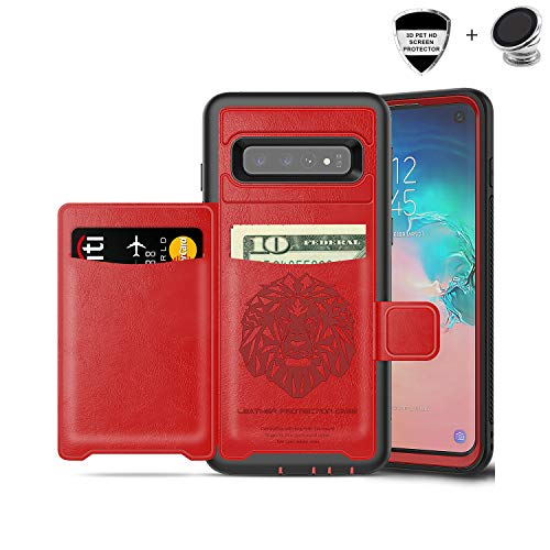 Galaxy S10 Case, Sumsung S10 Wallet Card Slots Holders Kickstand Flip Cover Bumper PU Leather TPU Rubber Hard PC Frame Magnetic Slim Shockproof Durable Shockproof Protective Case Cover (Red)