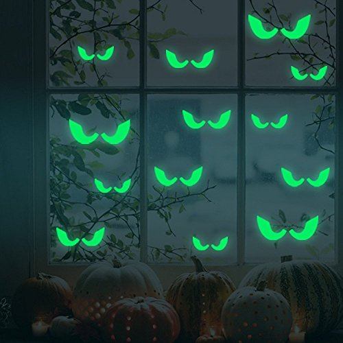 Creative Vinyl Decal Happy Halloween Fluorescent Eyes Wall Mural Luminous Wall Stickers Halloween Home Decoration¡­ (Halloween Costumes Put Together At Home)