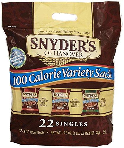 Snyder's of Hanover 100 Calorie Pretzel Tray Pack - Variety Sack - 0.9 oz - 22 ct