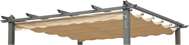 Angel Living Recambio de Top Roof de Poliéster para 3X3m Pérgola, Techo Retráctil a Prueba de Humedad, la Medida de la Lona es 258 x 258 cm (sin el ...