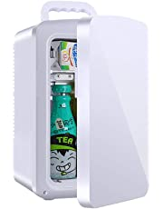 10L Portable Mini Personal Fridge Car Refrigerator Small Student Dormitory Electronic Cooler and Warmer, White, for Camping, Caravans, Picnics and Festivals