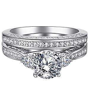 Mabella Wedding Ring Set Three Stone 2.3 Carats Round Cut Cubic Zirconia Sterling Silver for Women