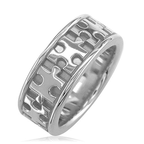 14k White Gold Puzzle Ring (Mens or Ladies Autism Awareness Jigsaw Puzzle Piece Ring Band in 14K White Gold size 6.5)