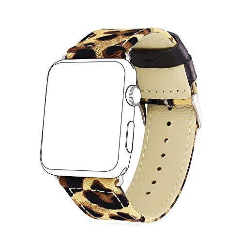 Leopard Printed Apple Watch Band 42mm, Fashion Leopard Print Leather and Denim Fabric Watch Band for Apple Watch Series 3, Series 2, Series 1, Sport, Edition (Brown Leopard 42mm) (Printed Fabric Band)
