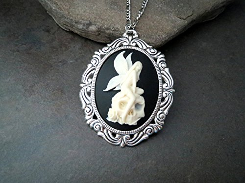 Handmade Oxidized Silver Skull Fairy Cameo Necklace Skull Cameo Necklace