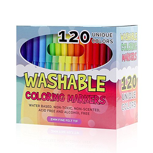 #LightningDeal 93% claimed: Color Marker Set - Set of 120 Unique and Vibrant Washable Coloring Markers for Kids and Adults, Completely Washable, Fine Felt Tip, Non-Toxic, Perfect for Coloring, School Projects, and Doodling