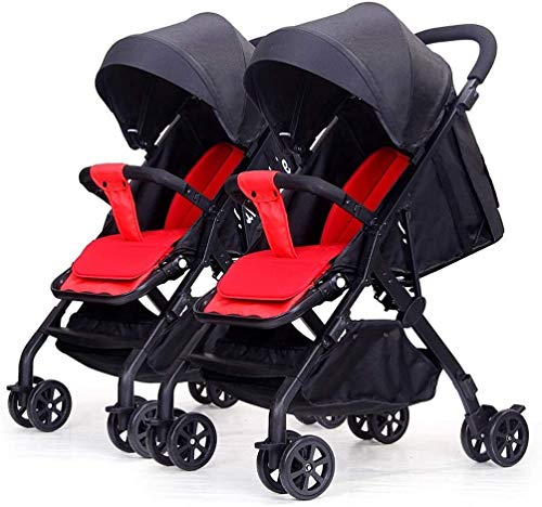 TZZ Double Stroller Lightweight One-Hand Compact Tandem Seats with 5-Point Safety System Pushchair for Newborn and Toddler (Color : Black)