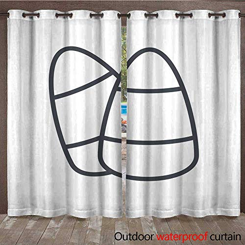 RenteriaDecor Outdoor Curtain for Patio Halloween Holiday Line Icon Corn Candy W72 x L84 ()