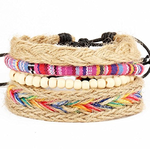Fariishta Jewelry Colorful Nepal Handmade Multilayer Woven Multi Strand Leather Bracelet