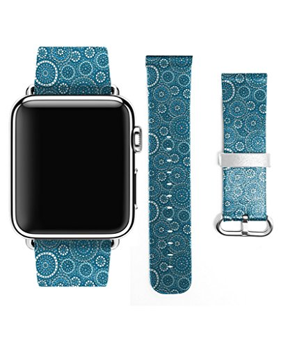 Apple Watch Strap Band Apple Watch 38MM - LEATHER) Strap Band Premium Strap Band Accessories for Apple Watch 38MM Retro Blue Circle Pattern