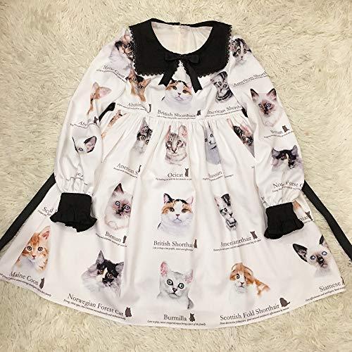 Douce Manches Ouverte Rétro Impression Arrivée Robe Nouvelle Lolita Femmes Qaqbdbckl Longues qw8ft1