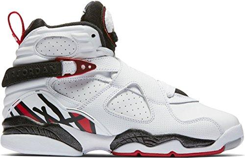 305368-104 GRADE SCHOOL AIR 8 RETRO BG JORDAN WHITE WOLF GREY (Jordan 8 Black Gym Red Black Wolf Grey)