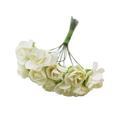 729778c1e BestOfferBuy 144 Rosas de Papel Tipo Mulberry Flores de 15mm Blanco Crudo  para Bodas Scrapbook Manualidades