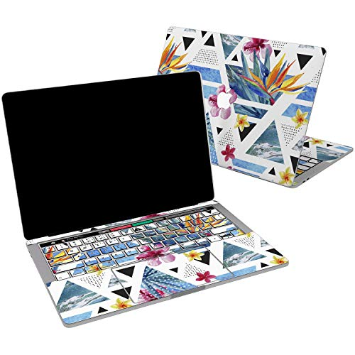 Lex Altern Vinyl Skin for MacBook Air 13 inch Mac Pro 15 Retina 12 11 2019 2018 2017 2016 2015 Tropical Geometric Triangle Modern Flower Abstract Touch Bar Laptop Cover Keyboard Decal Sticker Wrap