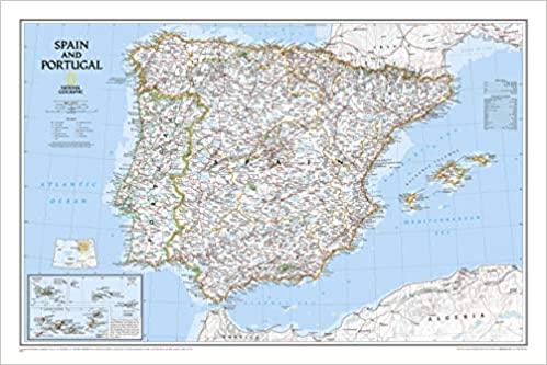 Map Of Spain Oceans.National Geographic Spain And Portugal Classic Wall Map 33 X 22