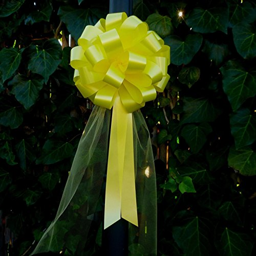 yellow-wedding-pull-bows-with-tulle-tails-8-wide-set-of-6