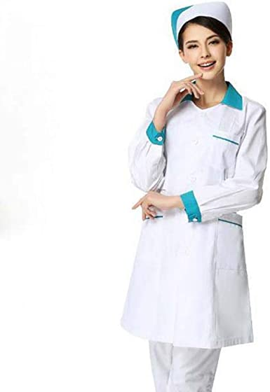 US Women Solid Scrubs Hospital Nurse Scrub Dress Medical Doctor Lab Coat Uniform