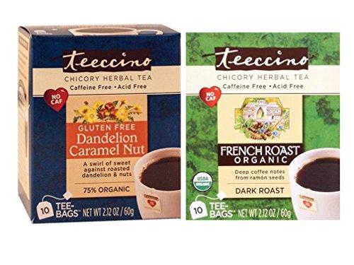 Teeccino Caffeine Free Organic Herbal Coffee And Tea 2 Flavor Variety Bundle: (1) Teeccino Gluten Free Dandelion Caramel (Teeccino Dark Roast Herbal Coffee)