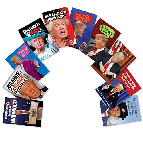 10 'A Very Trumpy' Boxed Birthday Cards with Envelopes (5 x 7 Inch) - Assorted Birthday Cards Featuring Hilarious President Donald Trump Photos and Quotes - Bday Notecard Set AC5978BDG-B1x10