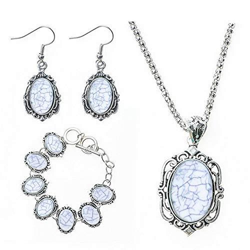 Monowi Fashion New Women Vintage Turquoise Hook Earrings Bracelet Necklace Jewelry Set | Model ERRNGS - 18240 |