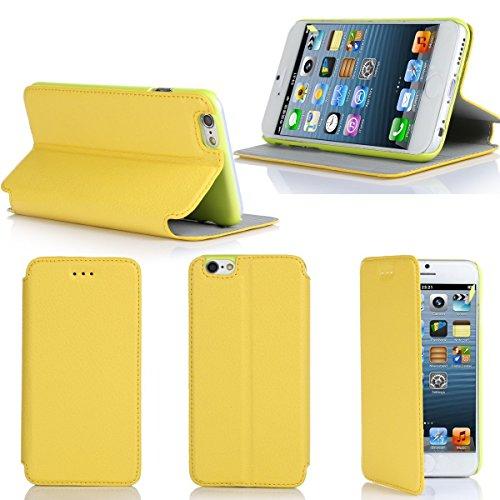 Etui luxe iPhone 6S 4.7 16/32/64 Go (Wifi/3G/4G/LTE) Ultra Slim jaune Cuir Style avec stand - Housse coque de protection pour Apple iPhone 6S 4,7 pouces yellow - Prix découverte accessoires pochette X