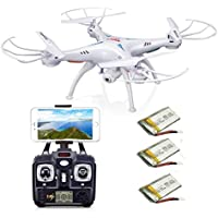 AURELIO TECH Syma X5SW FPV Explorers2 2.4Ghz 4CH 6-Axis Gyro RC Headless Quadcopter Drone with HD Wifi Camera, White (Extra: 2 x 600mAh Battery)
