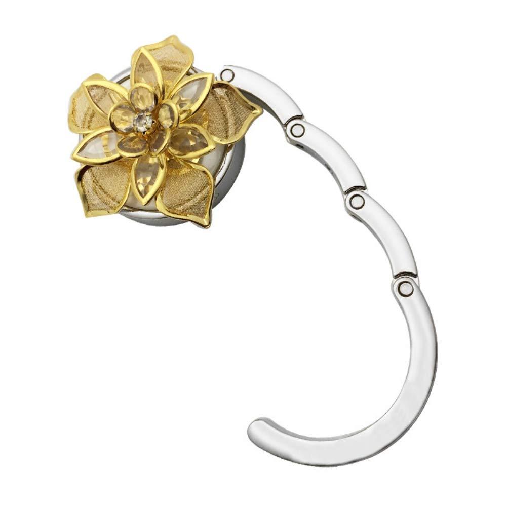 Leezo Golden Flower Pattern Round Folda bletable Hook aufhänger Caja con Revestimiento de Goma Antideslizante para Hombro Tote Bolso Monedero: Amazon.es: ...