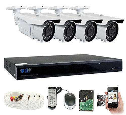 GW 5 Megapixel HD 1920P Complete Security System | (4) x 5MP Outdoor 3.3-12mm Varifocal Zoom Bullet Security Cameras, 8-Channel Plug and Play 5-In-1 DVR, True 5MP Double the resolution of HD 2MP 1080P