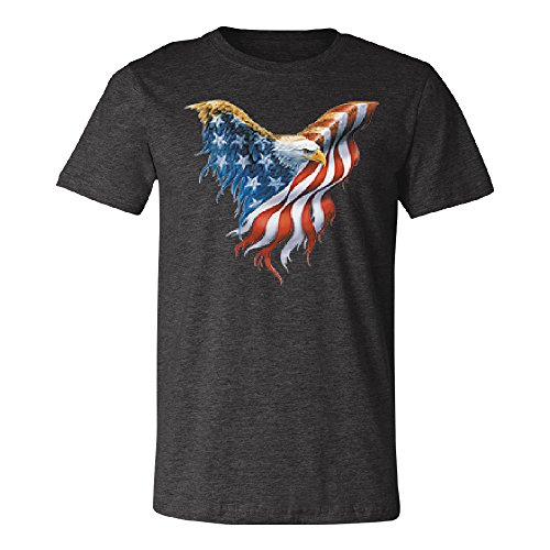 Bald Eagle USA Flag Wings Men's T-shirt Patriotic 4th of July Tee Dark Grey Heather Large -
