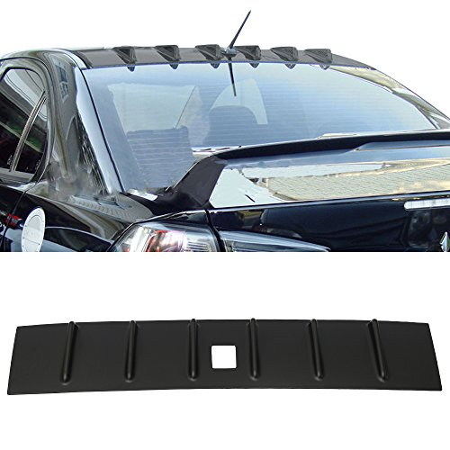 Roof Spoiler Fits 2008-2012 Mitsubishi Lancer | Unpainted Black ABS Rear Wind Visor Spoiler Wing By IKON MOTORSPORTS | 2009 2010 2011