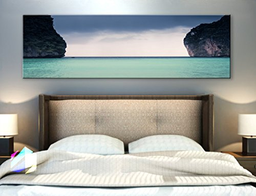 Original by BoxColors Single panel 3 Size Options Art Canvas Print forest lake landscape mountains nature river trees water panoramic tropical relax Wall Home Office decor (framed 1.5
