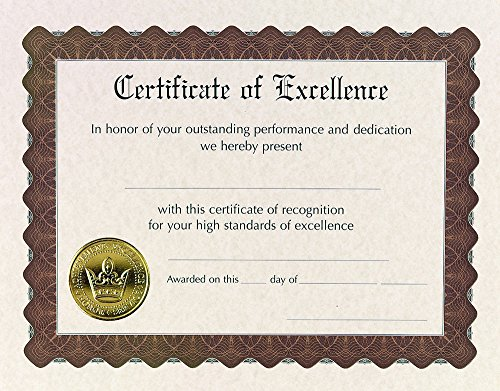 Great Papers! Certificate of Excellence, Pre-Printed, Gold Foil, Embossed, 8.5