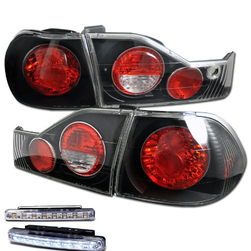 - 1998-2000 HONDA ACCORD JDM TAIL LIGHTS 4DR REAR BRAKE LAMPS +DRL LED RUNNING FOG