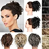 Messy Wavy Ponytail Bun Scrunchies Tousled Updo Ponytails Hair Extensions Human Made 100% Real Natural Premium Synthetic Hair for Women Lady(2PCS Light Auburn & Medium Brown)