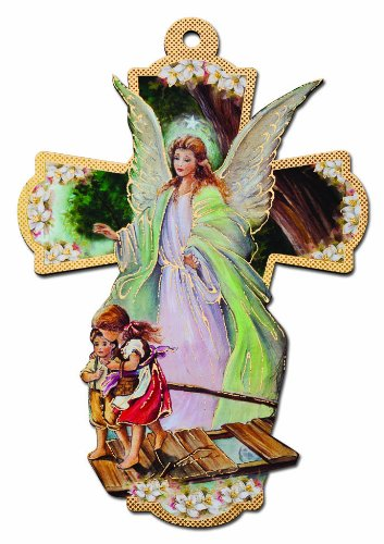 Italian Wooden Guardian Angel Wall Cross