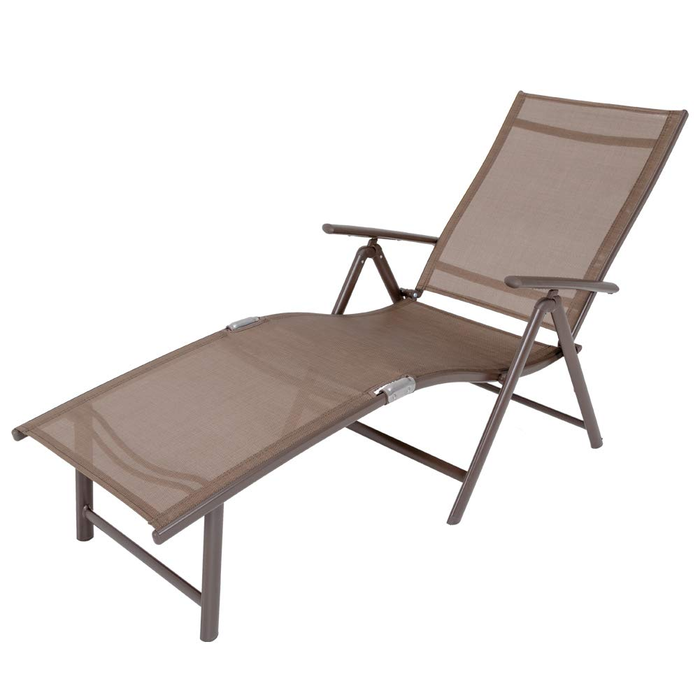 Crestlive Products Aluminum Beach Yard Pool Folding Recliner Adjustable Chaise Lounge Chair All Weather for Outdoor Indoor, Brown Frame 1 PC Brown Black