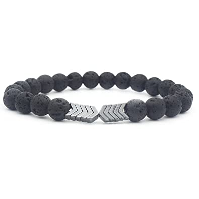 Amazon Com 8mm Lava Bead Rock Arrow Diffuser Stone Bracelet For