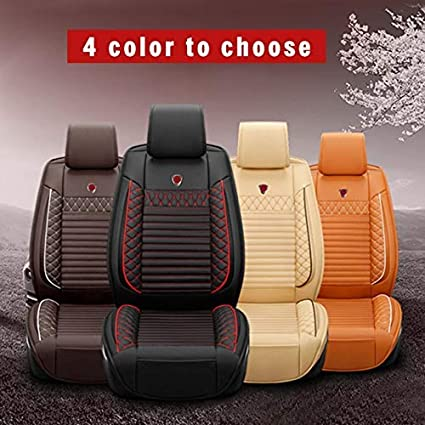 Custom Car Seat Cover for BMW 1 2 3 4 5 6 7 Series X1 X2 X3 X4 X5 X5M X6 X6M I3 I8 Z4 5-Seat Car Seat Cushion Cover Full Set Needlework PU Leather Seat Pad Protector Brown