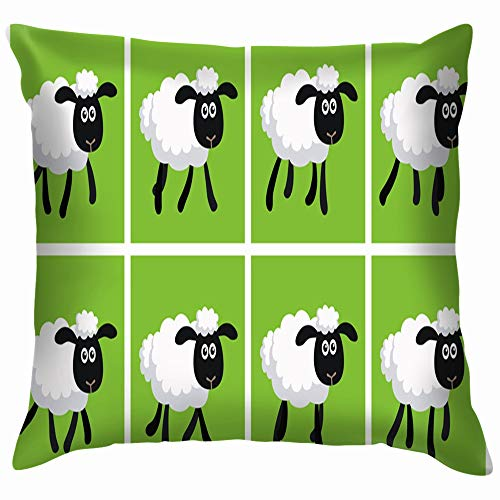 Cartoon Trotting Sheep Sprite Sheet Animals Wildlife Animated Nature Pillow Case Throw Pillow Cover Square Cushion Cover 12X12 Inch -