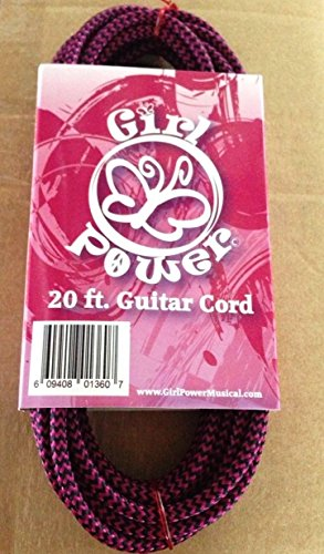 Deluxe Girl Power Braided Pink & Black Guitar Cable (Cord), 20 Foot