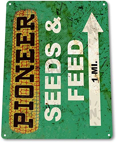 Sign Feed Store Tin (OKLS TIN Sign B580 Pioneer Seed and Feed Farm Seeds Feed Rustic Metal Decor)